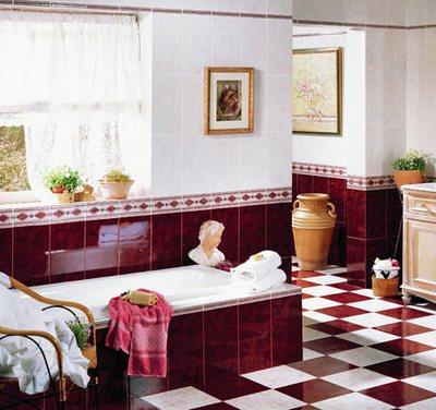 ...делать красными большие поверхности компактной ванной комнаты.